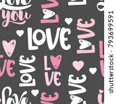 valentines day seamless pattern ... | Shutterstock .eps vector #793699591