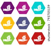 house in hand icon set many... | Shutterstock .eps vector #793705159