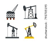 petrol extract icon set. flat... | Shutterstock .eps vector #793705195