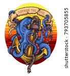 vector illustration of octopus... | Shutterstock .eps vector #793705855