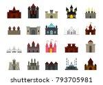 castle icon set. flat set of... | Shutterstock .eps vector #793705981