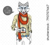 retro hipster animal fox with... | Shutterstock .eps vector #793707667