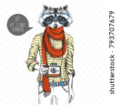 retro hipster animal raccoon... | Shutterstock .eps vector #793707679