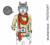 retro hipster animal wolf with... | Shutterstock .eps vector #793707697