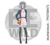 retro hipster fashion animal... | Shutterstock .eps vector #793708471
