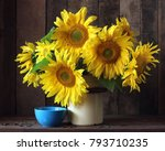 bouquet of sunflowers in a can... | Shutterstock . vector #793710235