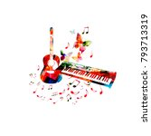 music poster with colorful... | Shutterstock .eps vector #793713319