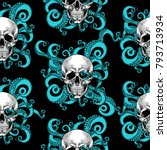 skull and tentacles of the... | Shutterstock .eps vector #793713934