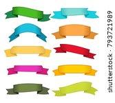 set of ten multicolor ribbons... | Shutterstock .eps vector #793721989