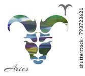 zodiac sign aries. vector... | Shutterstock .eps vector #793723621