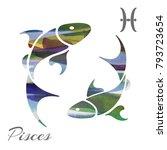 zodiac sign pisces. vector... | Shutterstock .eps vector #793723654