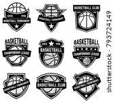 set of basketball sport emblems.... | Shutterstock .eps vector #793724149