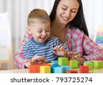 child boy together with mother... | Shutterstock . vector #793725274