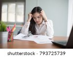 young businesswoman with tired... | Shutterstock . vector #793725739