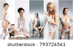 bridal lingerie concept collage.... | Shutterstock . vector #793726561