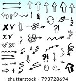 hand drawn doodle vector arrows. | Shutterstock .eps vector #793728694