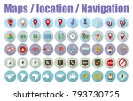 navigation pins   map icons ... | Shutterstock .eps vector #793730725