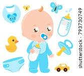baby boy accessories vector... | Shutterstock .eps vector #793730749