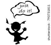 doodle kids with speech bubble... | Shutterstock .eps vector #793731811