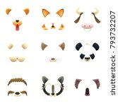 masks of funny animals. ears... | Shutterstock .eps vector #793732207