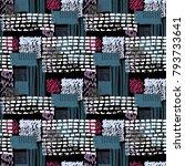 memphis seamless  pattern in... | Shutterstock .eps vector #793733641