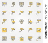 cctv colored icons set. vector...