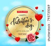 valentines day sale background... | Shutterstock .eps vector #793735069