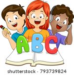 illustration of kids learning... | Shutterstock .eps vector #793739824