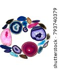 Small photo of Agate Stone. frame of colorful agate stone pieces isolated on white background. Set of pink, blue,purple, brown agates
