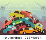 illustration of a junkyard... | Shutterstock .eps vector #793740994