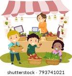 illustration of stickman kids... | Shutterstock .eps vector #793741021