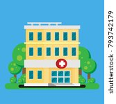 hospital building flat icon... | Shutterstock .eps vector #793742179