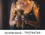 female in black dress and... | Shutterstock . vector #793746769