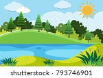 pine trees and the lake at day... | Shutterstock .eps vector #793746901