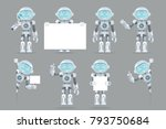 different poses boy teen robot... | Shutterstock .eps vector #793750684