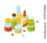 different bottles with pills... | Shutterstock .eps vector #793753981