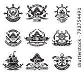 monochrome pictures of pirate... | Shutterstock .eps vector #793754491