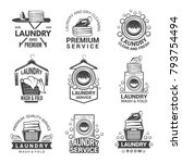 Stock vector labels or logos for laundry service vector monochrome pictures laundry logo and household wash 793754494