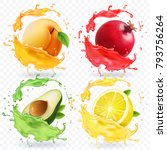 apricot  lemon  pomegranate ... | Shutterstock .eps vector #793756264