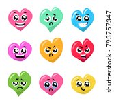funny hearts with emotions.... | Shutterstock .eps vector #793757347