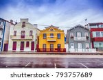 typical striped houses in costa ... | Shutterstock . vector #793757689