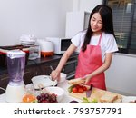 woman preparing bread to... | Shutterstock . vector #793757791
