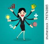acrobat. businessman juggling... | Shutterstock .eps vector #793762885