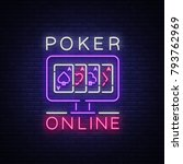 online poker is a neon sign.... | Shutterstock .eps vector #793762969