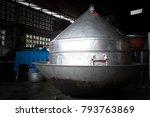 large streamer pot on the stove ... | Shutterstock . vector #793763869