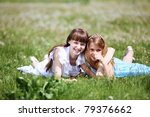 two girls spending time... | Shutterstock . vector #79376662