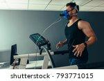 fitness man running on... | Shutterstock . vector #793771015