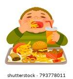 overweight boy mindlessly... | Shutterstock .eps vector #793778011