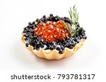 tartlets with salad from saury... | Shutterstock . vector #793781317