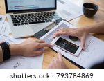 calculating monthly profit on... | Shutterstock . vector #793784869